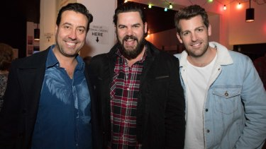 Joe Accaria, Ben Mingay and Tim Ross at the opening night of Calamity Jane at the Belvoir St Theatre on Saturday.