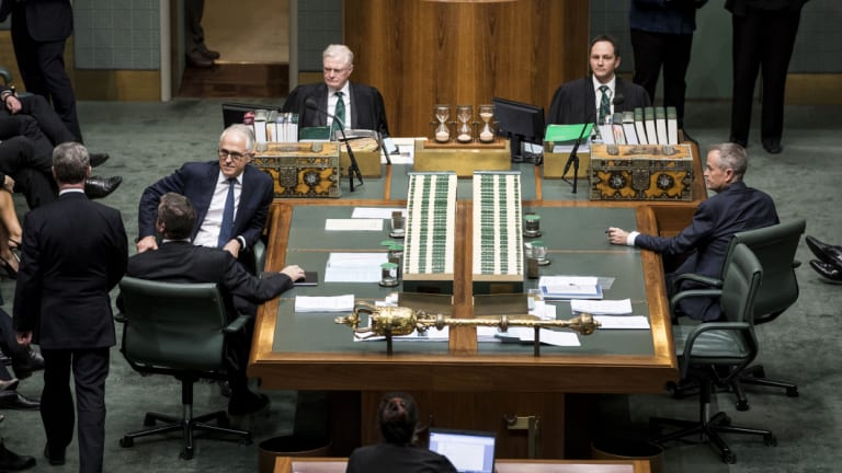Prime Minister Malcolm Turnbull and Mr Shorten in the House of Representatives during a division to adjourn Parliament.