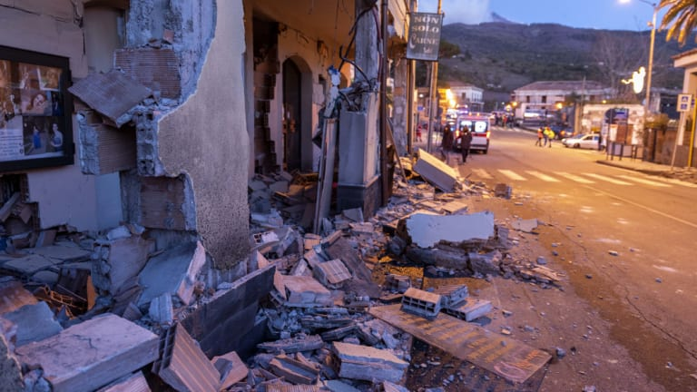 Buildings were badly damaged in Fleri, Sicily.