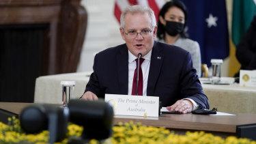 Australian Prime Minister Scott Morrison speaks during the Quad summit.