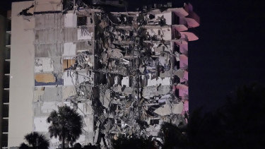 The collapsed building in an area of Miami.
