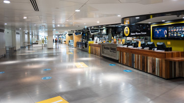 Empty Food court in Wintergarden Centre on Queen Street Mall during Brisbane's three-day lockdown.