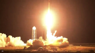 The SpaceX Crew Dragon spacecraft lifts off carrying NASA astronauts Shane Kimbrough and Megan McArthur, European Space Agency astronaut Thomas Pesquet and Japan Aerospace Exploration Agency astronaut Akihiko Hoshide.