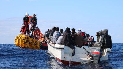 Migrant boat sinks in lake in Turkey