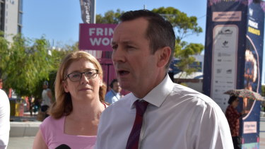 Premier Mark McGowan facing questions from the media about his government's Huawei contract last month.
