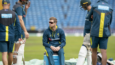 Steve Smith (centre) can only watch on as the Australian team trains at Headingley ahead of the third Test.