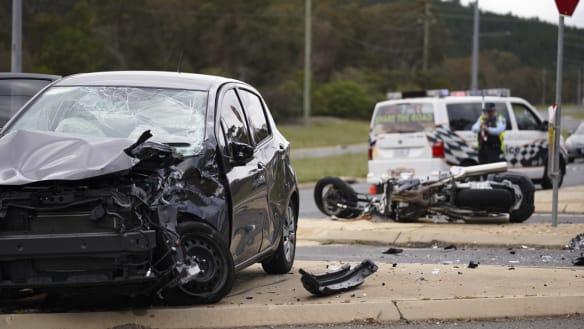 Motorcycle thrown '10 to 15 metres' in Yamba Drive crash