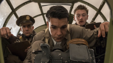"Christopher Abbott (centre) as Yossarian, for whom the phrase ""war effort"" means doing everything possible to avoid being killed."