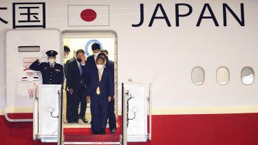 Japanese Prime Minister Yoshihide arriving the US for meetings with President Joe Biden.