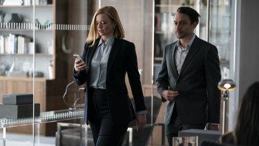 Shiv (Sarah Snook) and Roman (Kieran Culkin) in a scene from Succession.