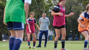 Melbourne Victory W-League coach Jeff Hopkins oversees trials for the club's new women's development squads.
