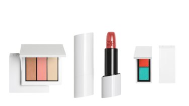 Zara tapped famed art director Fabien Barron who once revamped an ailing Burberry to package its new beauty line that includes, from left, a cheek palette, tinted lip balm, and eyeshadow duo.