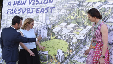 Minister for Planning Rita Saffioti unveils the new concept images for the Subiaco redevelopment with Landcorp chief executive Frank Marra and Subiaco Mayor Penny Taylor.