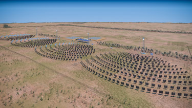 Rendered images of AGL and RayGen's concentrated solar and thermal storage project in Victoria.