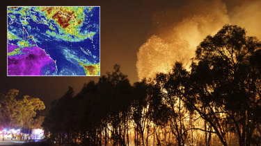 Fire crews confronted by massive flames at Deepwater in central Queensland. The weather bureau is also watching a potential tropical cyclone near the Solomon Islands.