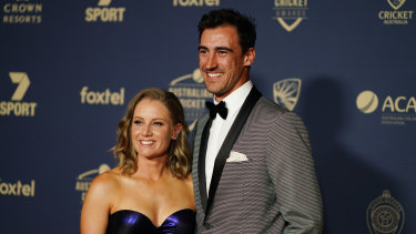 Alyssa Healy and Mitchell Starc at the Australian Cricket Awards in Melbourne last month.