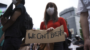 One of the protesters in Tokyo.