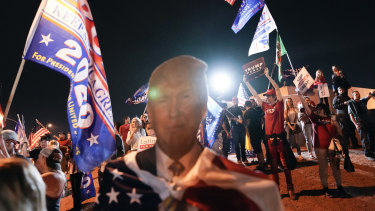 """Donald Trump supporters protest in Las Vegas about what they say is a """"rigged"""" election. There is no evidence of any fraud."""