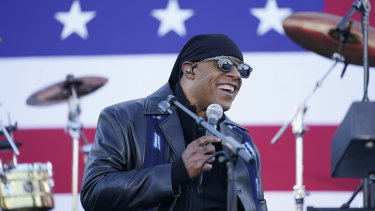 Stevie Wonder performs before Democratic presidential candidate former vice-president Joe Biden and former president Barack Obama speak at a rally in Detroit.