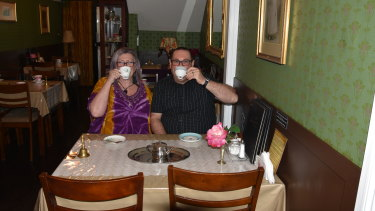 Kate Denning and Luke Quadrelli at The Rendezvous Tea Room in Woolloongabba.