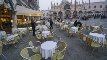 Piazza San Marco is the most popular destination for tourists in Venice but has been eerily quiet after coronavirus appeared in Italy.