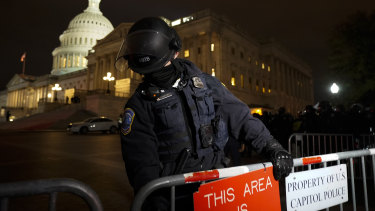 Police outside Capitol Hill on Wednesday night.