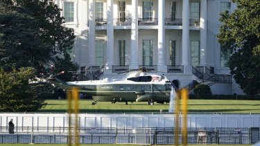 Marine One on the White House South Lawn, awaiting to transfer US President Donald Trump to the Walter Reed Medical Centre.