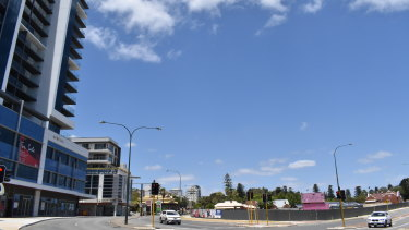 The Aurelia project, left, at the Labouchere Road freeway entry point, will one day be matched on the right by the Civic Heart development, another tower project undergoing a redesign after encountering problems.