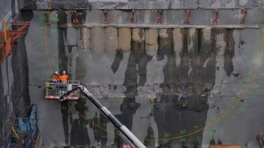 Work on the West Gate Tunnel in Footscray in early June.