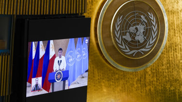 Philippines President Rodrigo Duterte addresses the 76th Session of the United Nations General Assembly remotely on Tuesday.