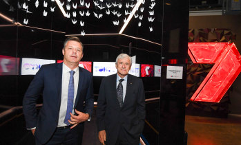 Seven West Media CEO James Warburton with chairman Kerry Stokes.