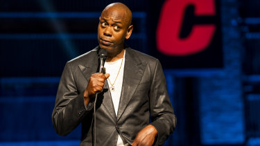 Dave Chappelle on stage performing his Netflix special, 'The Closer.'