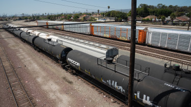 Tank cars filled with oil in storage in California.