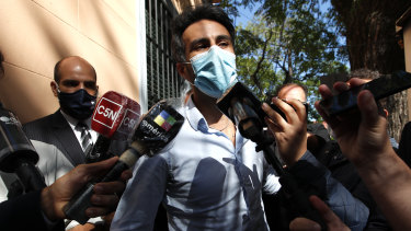 Neurologist Leopoldo Luque, Diego Maradona's personal doctor, arrives to the prosecutor's office in Buenos Aires on Monday.