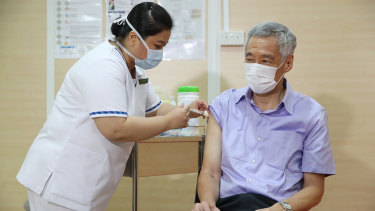 Singaporean Prime Minister Lee Hsien Loong receiving his coronavirus vaccine in January.