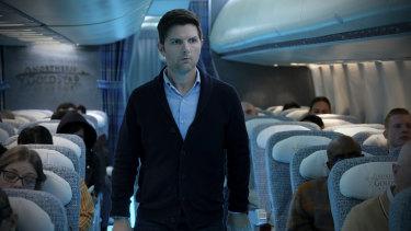 Adam Scott in The Twilight Zone reboot Nightmare at 30,000 Feet.