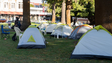 Tents have been pitched in Pioneer Park in Fremantle for homeless people.