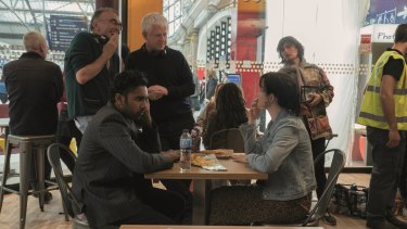 Director Danny Boyle (far left) and writer Richard Curtis with actors Himesh Patel and Lily James on the set of Yesterday.