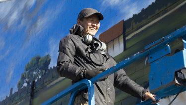 Muralist and fine artist Heesco Khosnaran is painting the walls of Yarram