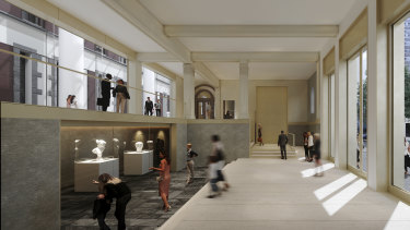 Architectural render of the lobby of a proposed new Greek museum.
