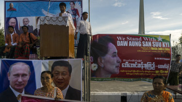 A demonstration organised by a Buddhist monk in support of Myanmar's civilian leader Aung San Suu Kyi's handling of the Rohingya crisis in Yangon, 2017.