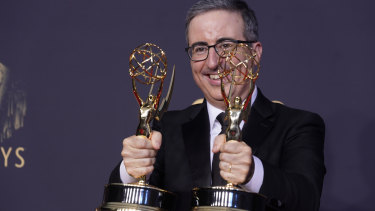 John Oliver wins outstanding writing for a variety series and outstanding variety talk series for Last Week Tonight with John Oliver.