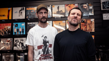 Sleaford Mods' Andrew Fearn (left) and Jason Williamson, touring Australia next month.