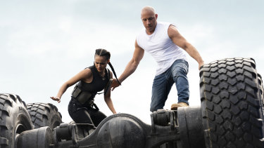 Fast and Furious 9, directed by Justin Lin, features Ramsey (Nathalie Emmanuel) and Dom (Vin Diesel).