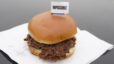 The Impossible Burger, a plant-based burger made from wheat protein, coconut oil and potato protein.