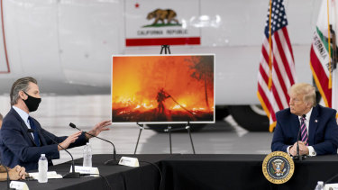 A debate about science: President Donald Trump participates in a briefing on wildfires with California Governor Gavin Newsom.