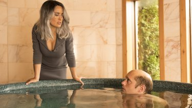 Salma Hayek and Alexander Skarsgard in The Hummingbird Project.