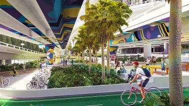 Brisbane's new Waterline Park being built under the Riverside Expressway as part of the Queens Wharf development.