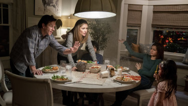 Mark Wahlberg, from left, Rose Byrne, Gustavo Quiroz, Isabela Moner, and Julianna Gamiz in a scene from Instant Family.