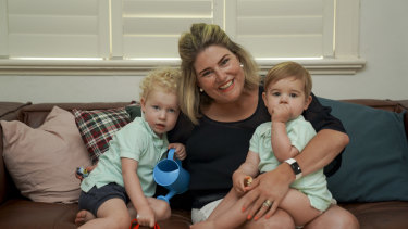 Sally Branson Dalwood with her sons Magnus, 3 and Fenton, 1.